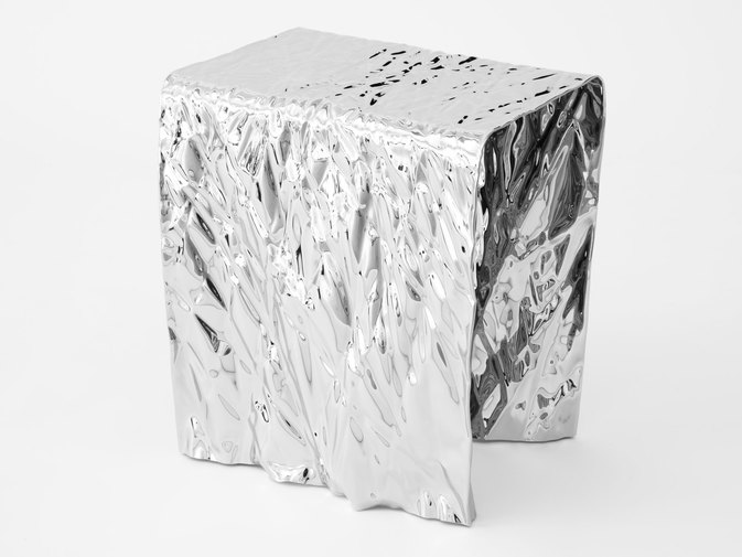 Christopher Prinz Mirror Polished Wrinkled Stool, image 1