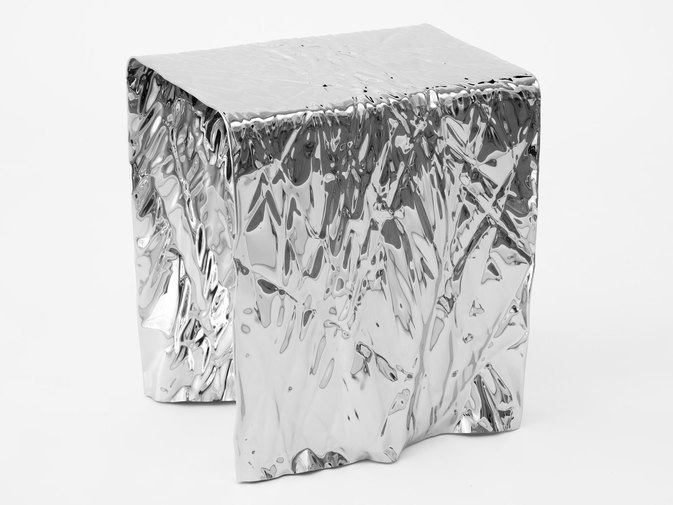 Christopher Prinz Mirror Polished Wrinkled Stool, image 3