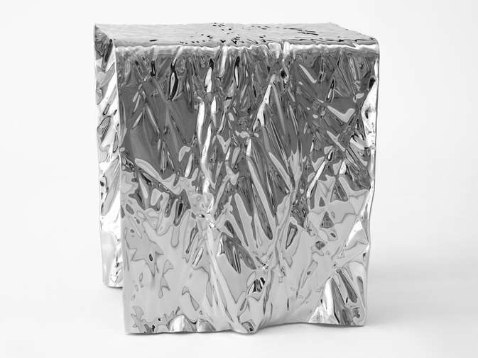 Christopher Prinz Mirror Polished Wrinkled Stool, image 9