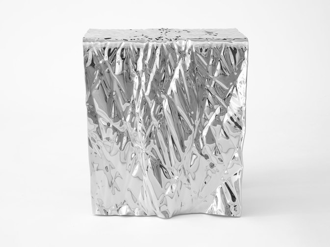 Christopher Prinz Mirror Polished Wrinkled Stool, image 4
