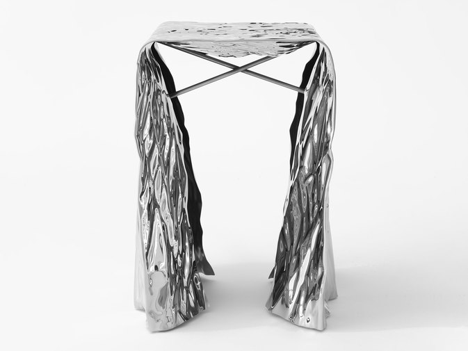 Christopher Prinz Mirror Polished Wrinkled Stool, image 5