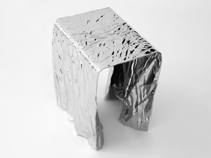 Christopher Prinz Mirror Polished Wrinkled Stool, image 6