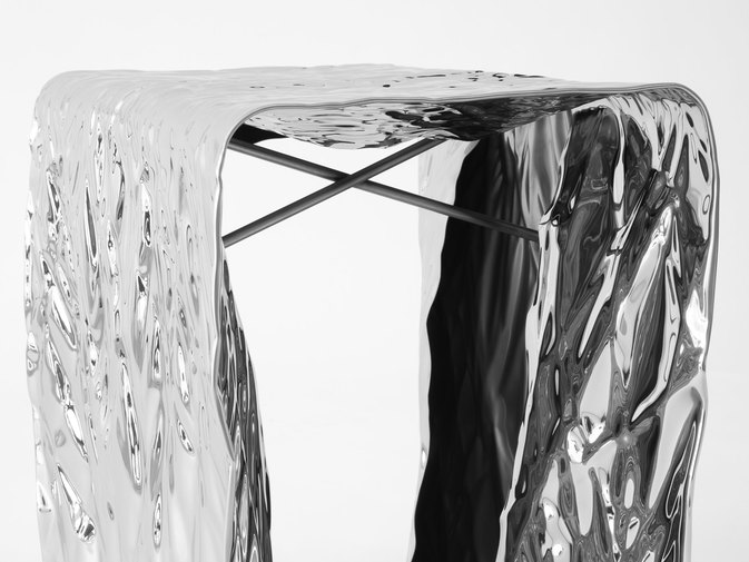 Christopher Prinz Mirror Polished Wrinkled Stool, image 8