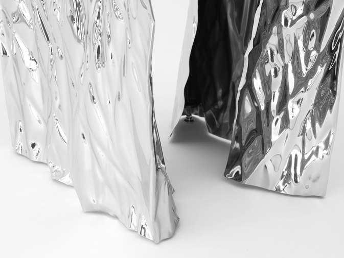 Christopher Prinz Mirror Polished Wrinkled Stool, image 11